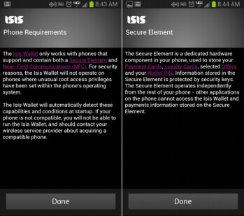 Isis Mobile Wallet is A-OK to use the secure element on your Verizon device, but Google Wallet is not.