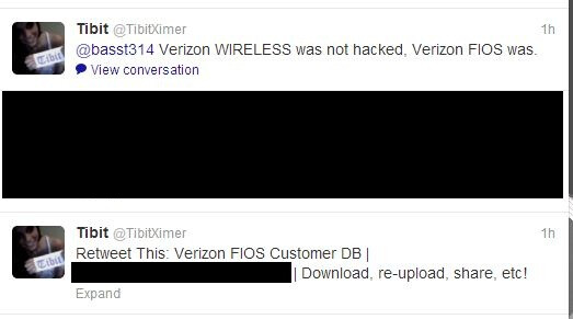 Pair of tweets sent by the hacker - Verizon denies that a hacker leaked data from 300,000 customers