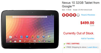 The Google Nexus 10 is sold out online at Staples