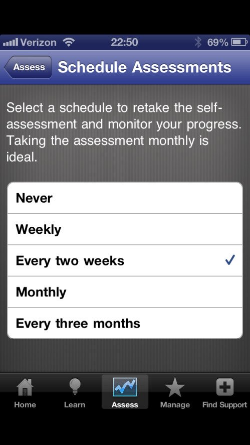 Schedule self-assessments