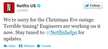 Netflix is down on Christmas Eve