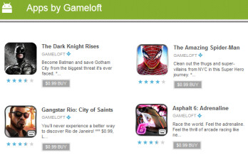 Some of the titles on sale from Gameloft