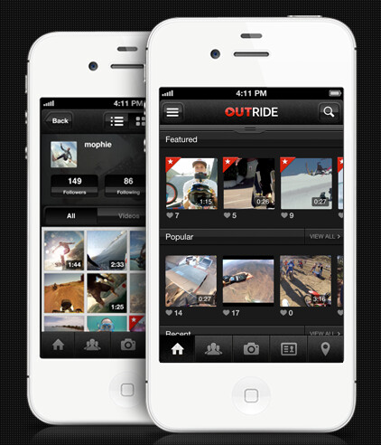 The OutRide app lets you share your videos - Turn your Apple iPhone 4 or Apple iPhone 4S into a sports camera using the mophie OutRide