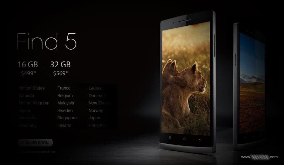 The Oppo Find 5 is coming to many more countries than expected - Will the Oppo Find 5 hit your country in Q1? 32GB model of the phone is on the way
