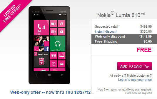 The Nokia Lumia 810 is free on contract from T-Mobile - Nokia Lumia 810 now free on T-Mobile's website with signed 2-year pact