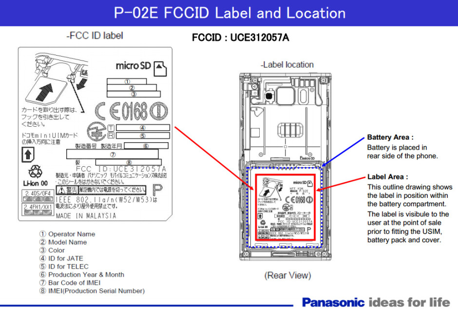 Panasonic P-02E - Panasonic P-02E Android smartphone is real, clears the FCC on its way to Japan