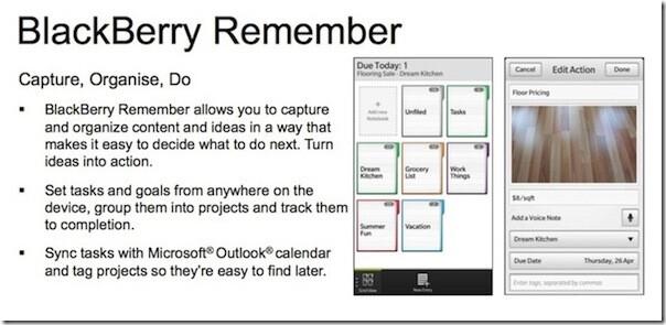 BlackBerry Remember is like Task for BlackBerry 10 - BlackBerry Remember, task app for BlackBerry 10, leaks on slide
