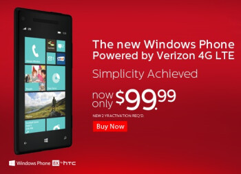 The HTC Windows Phone 8X is $99.99 on contract from Verizon