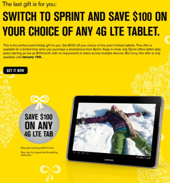 Save $100 on an LTE enabled tablet from Sprint