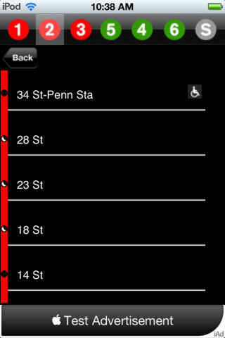 Screenshots from the MTA Subway Time app