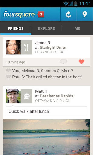 Screenshot from Foursquare