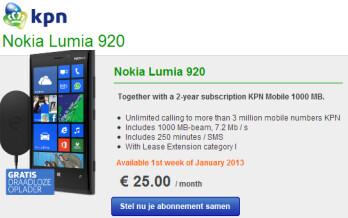 The Nokia Lumia 920 will soon ship via KPN