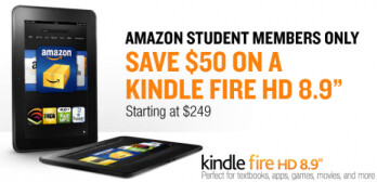 Students can take a $50 discount off the price of the Amazon Kindle Fire HD 8.9