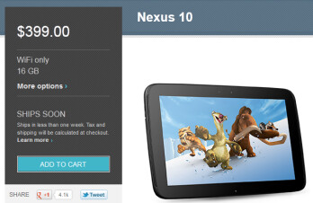 The Google Nexus 10 is back in stock at the Google Play Store