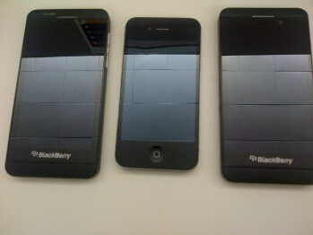 The BlackBerry Z10 for Verizon (L) and AT&T