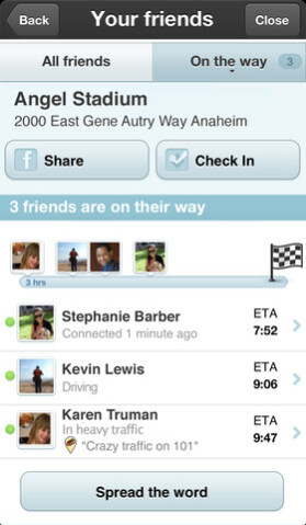 Screenshots from Waze