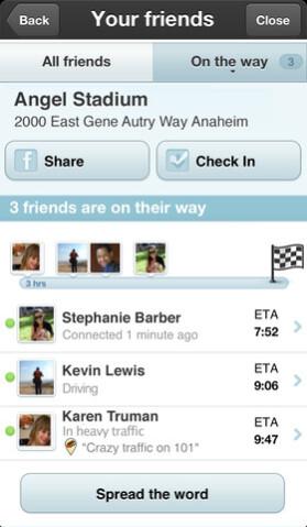Screenshots from Waze