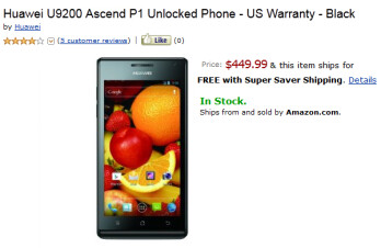 The Huawei Ascend P1 is now available from Amazon