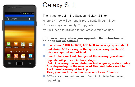Samsung Korea says Android 4.1 is coming to the Samsung Galaxy S II - Samsung Korea reveals Jelly Bean update for Samsung Galaxy S II