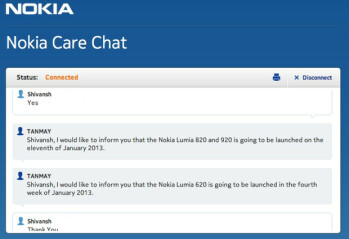 Live Chat for Nokia Care says the Nokia Lumia 920 and Nokia Lumia 820 will launch in India this coming Friday