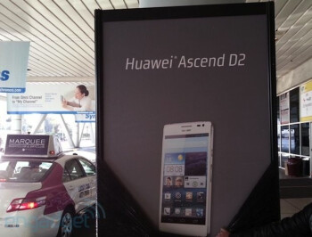 Billboard outside of the Las Vegas Convention Center shows the Huawei Ascend D2