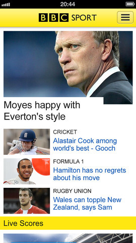 Screenshots from BBC Sport