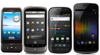 The evolution of screen sizes from the 3.2-inch G1 to the 4.7-inch Galaxy Nexus