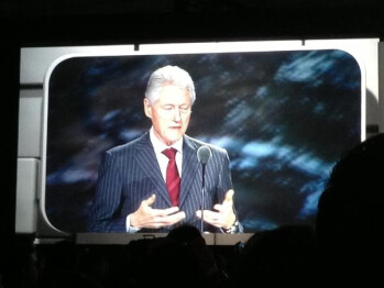 Bubba endorses Samsung: Bill Clinton gets on stage at CES to talk tech and charity