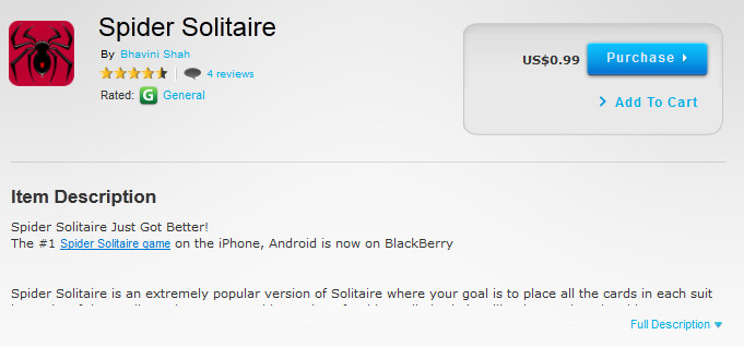 One of the games alleged to have been pirated from the Google Play Store - Pirated apps show up in BlackBerry App World