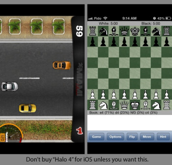 Instead of Halo 4, buyers of the app got a chess or racing game