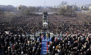 A large crowd watched Obama's first inauguration