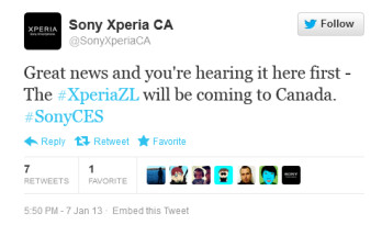 The Sony Xperia ZL is coming to Canada