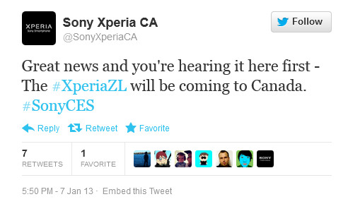 The Sony Xperia ZL is coming to Canada - Sony Xperia ZL is Canada bound says tweet from Sony Canada