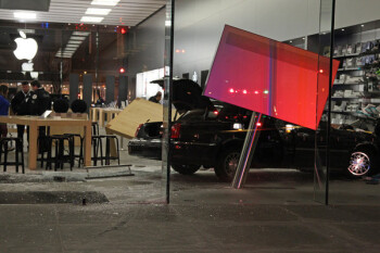The glass facades of Apple stores are cool, but easy to crash through with a car, like this