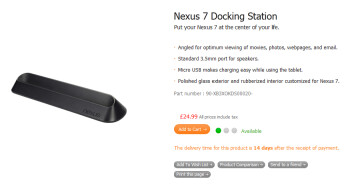 The audio docking station for the Google Nexus 7 from the ASUS Shop in the U.K.