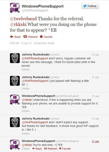 Desktop-style error messages appear on Windows Phone 8