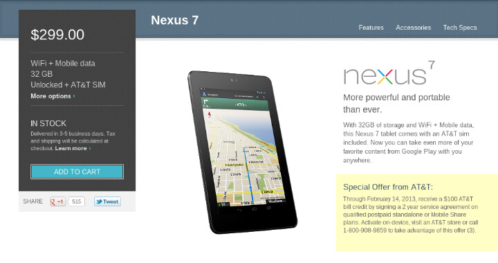 AT&T to credit $100 on each Nexus 7 with data plan till Valentine's Day, 'cause it loves you