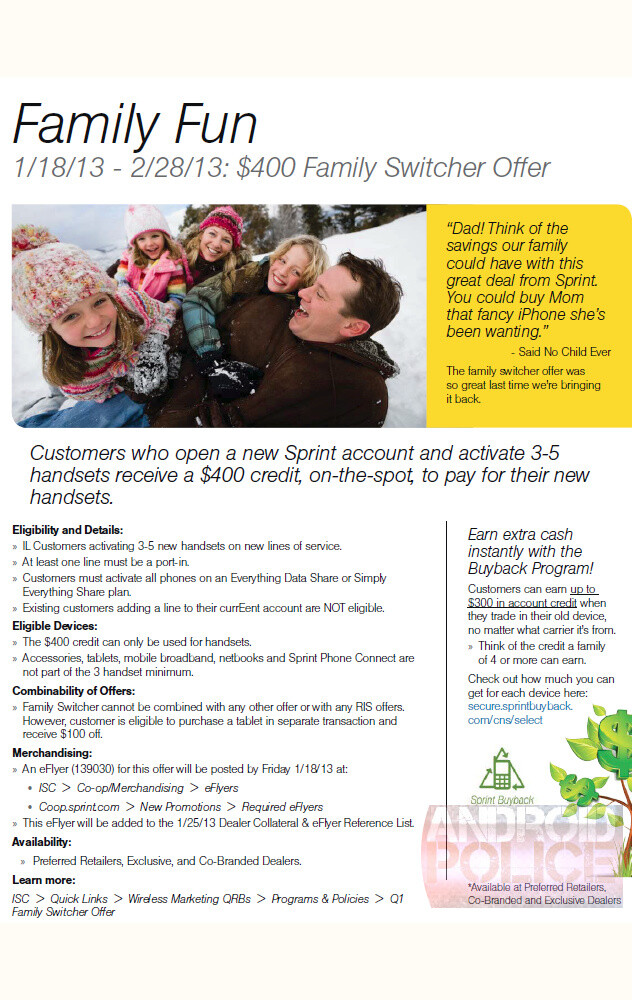 $400 Family Switcher Offer for Sprint coming on January 18, leaked document reveals