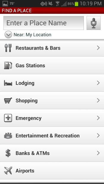 Like every self-respecting navigation app, VZ  Navigator supports many types of places of interest.