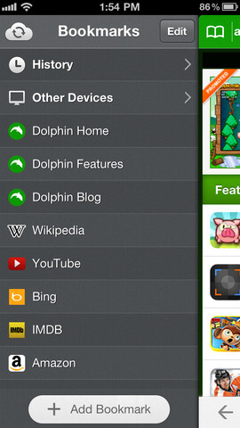 Screenshots from the Dolphin Browser