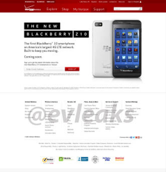 Landing page for first Verizon BlackBerry 10 device leaks out, reveals silvery back model