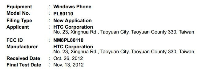 The FCC calls this model a Windows Phone, but the model number suggests a variant of the HTC One SV - Sprint's first Windows Phone 8 device meets FCC dressed in HTC brand