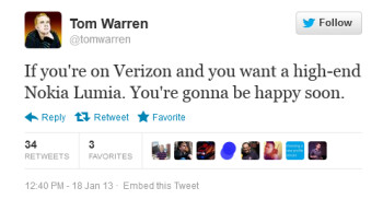 This tweet hints at a Nokia Lumia 920 variant for Verizon