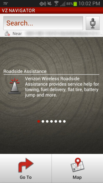VZ Navigator's homescreen   displays information about roadside  assistance, local weather, gas prices and more.