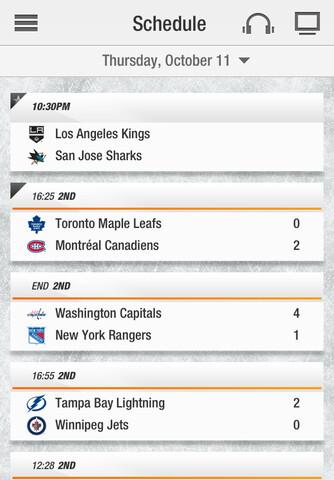 Screenshots from NHL GameCenter