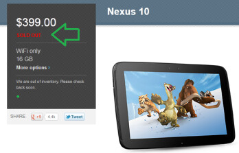 The Google Nexus 10 is sold out again