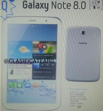 Samsung Galaxy Note 8.0 image leaks, but we doubt it's the real thing