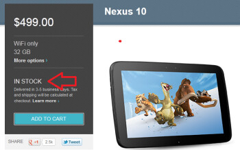 This time the Google Nexus 10 is back IN stock
