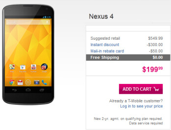 The Google Nexus 4 is in stock, online at T-Mobile