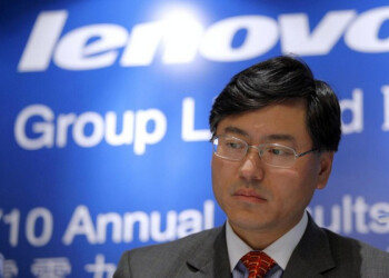 A serious looking Yang Yuanqing, CEO of Lenovo